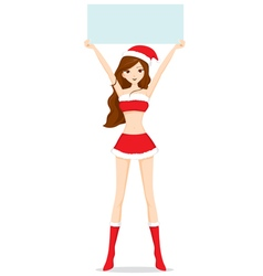 Sexy Woman In Santa Costume Showing Blank Sign vector image