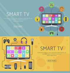 smart tv flat design concept and banners modern vector image