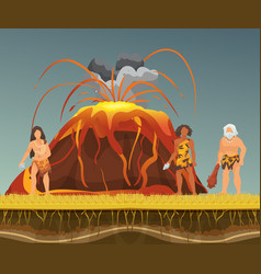 stone age primitive men with stones and wooden vector image