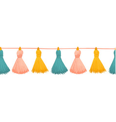 tassels seamless border colorful vector image