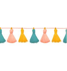 Tassels seamless border colorful vector