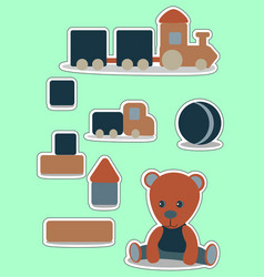 teddy bear set sticker for boy wooden toys vector image