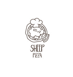 template icon funny pizza with sheep chef vector image
