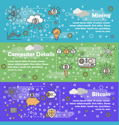 thin line bitcoin web banner template set vector image