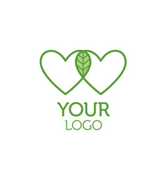 two hearts and green leaf logo charity concept vector image