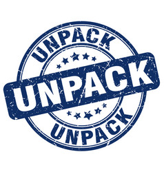 Unpack blue grunge stamp vector