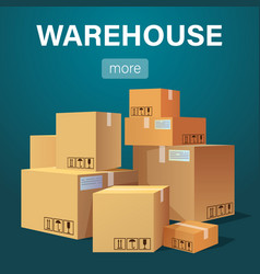 warehouse banner with pile of stacked sealed goods vector image