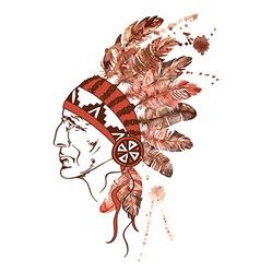 Watercolor Native American Indian chief vector image
