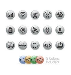 Web and mobile icons 6 - metal round series vector