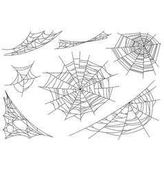 web spider cobweb icons set outline vector image