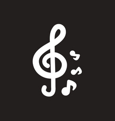White icon on black background music note vector