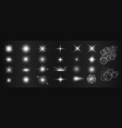 White sparkles and lens flare big set vector
