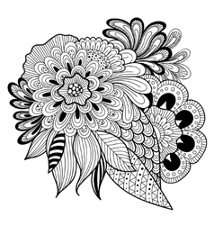 Zen-tangle floral pattern Indian style vector image vector image