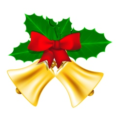 Golden Christmas bells with leaves of holly vector image vector image
