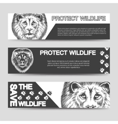 Protect nature banners with lion vector image vector image