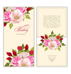 set greeting card with bouquet flowers vector image vector image