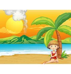 A girl holding a book at the seashore vector image vector image