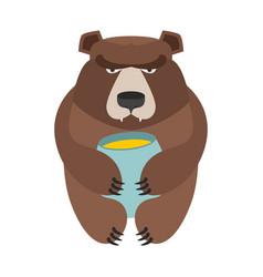 Bear and honey barrel cute wild animal and food vector