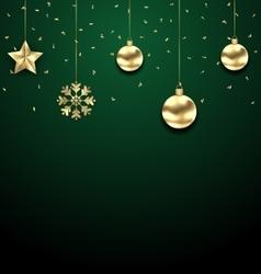 Christmas golden hanging balls on dark green vector