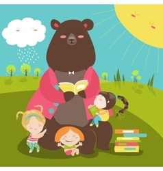 Cute bear reading book for girls vector image