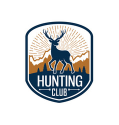 deer hunting heraldic badge for hunt club design vector image
