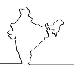 Black white india outline map royalty free vector image map of india continous line vector image thecheapjerseys Image collections