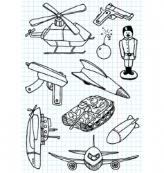 military doodles vector image vector image