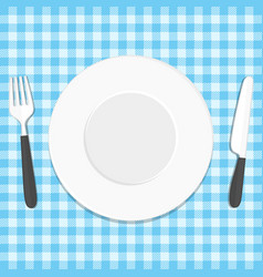 plate knife and fork on tablecloth vector image