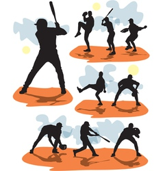 set baseball silhouettes vector image vector image