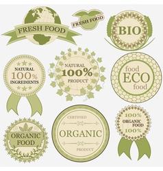 Set of eco bio natural labels retro vintage style vector image vector image