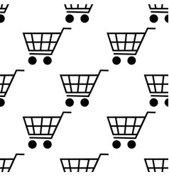 shopping cart seamless pattern isolated on white vector image vector image