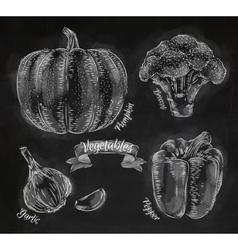 Vegetables pepper pumpkin garlic broccoli chalk vector image