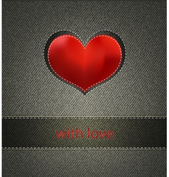 background with jeans and heart vector image vector image