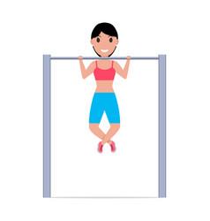cartoon girl pulling up on a horizontal bar vector image vector image