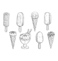 Ice cream isolated pencil sketch vector image vector image