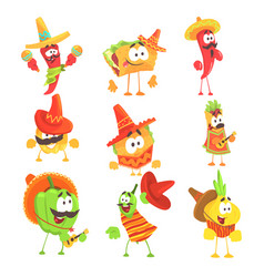 Mexican food and vegetables series of cool cartoon vector