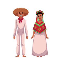 mexican man and woman in traditional casual vector image vector image