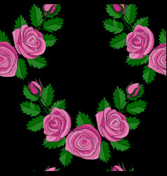pink rose corner embroidery seamless pattern vector image vector image