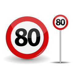 round red road sign speed limit 80 kilometers per vector image vector image