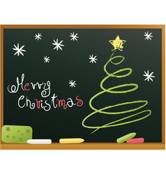 school blackboard with christmas tree vector image vector image