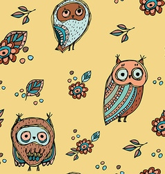 Set of funny owl with flowers sketch doodle vector image