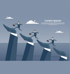 businesspeople group running on business hands up vector image