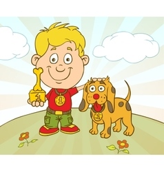 Character Boy With Dog won on Pet Show vector image