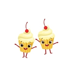 Cupcakes With Cherry On Top Kids Birthday Party vector image vector image