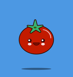 cute vegetable cartoon character tomato icon vector image vector image
