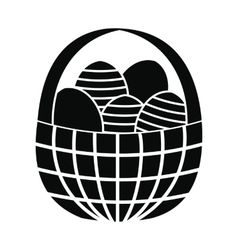 Easter eggs in the basket icon vector image