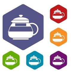 Glass teapot icons set vector image
