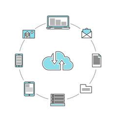 Global data communication linear infographics vector