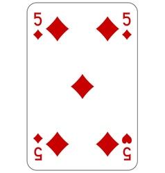 Poker playing card 5 diamond vector