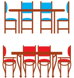 Set of dining tables and chairs vector image vector image